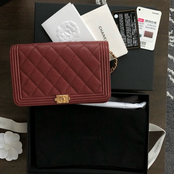 84adb335a1d459 CHANEL Bags | Boy Wallet On Chain Burgundy | Poshmark